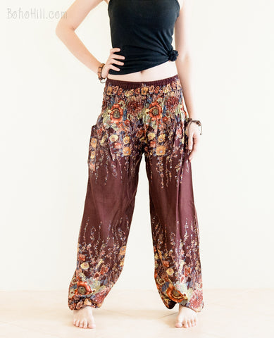 Yoga Pants - Bohemian Flower Yoga Pants Rayon Harem Trousers (Brown)
