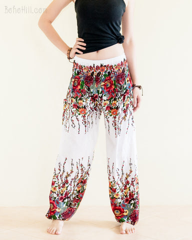 Yoga Pants - Bohemian Flower Yoga Pants Rayon Harem Trousers (White)