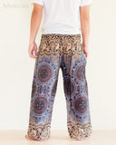 Yoga Pants Bohemian Harem Bloomers Rayon Smocked Waist Brown Gray Chakra Flora rear