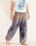 Yoga Pants Bohemian Harem Bloomers Rayon Smocked Waist Brown Gray Chakra Flora walk
