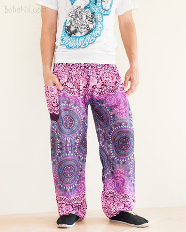 Yoga Pants Bohemian Harem Bloomers Rayon Smocked Waist Purple Pink Chakra Flora side