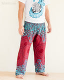 Yoga Pants Bohemian Harem Bloomers Rayon Smocked Waist Red Mandalas side
