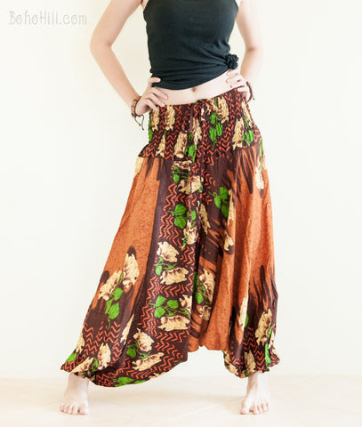 Yoga Pants - Boho Flower Harem Pants Low Crotch Yoga Trousers (Copper Brown)
