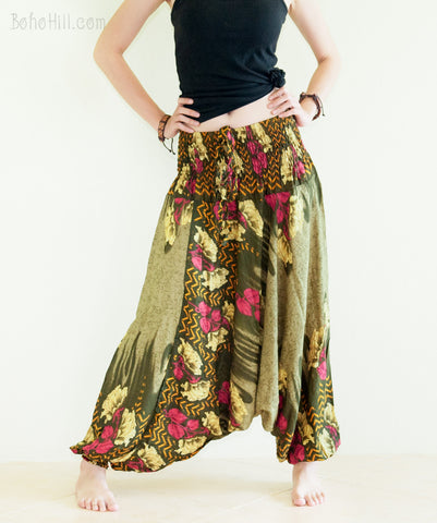 Yoga Pants - Boho Flower Harem Pants Low Crotch Yoga Trousers (Olive)