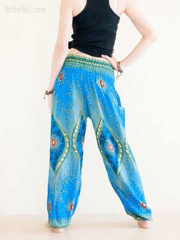 Yoga Pants - Boho Yoga Pants Harem Trousers Thai Aladdin Genie (Sky Blue Eye Peacock)
