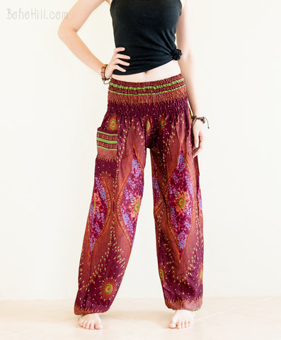 Yoga Pants - Chakra Peacock Yoga Pants Bohemian Harem Trousers (Burgundy)