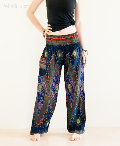 Yoga Pants - Chakra Peacock Yoga Pants Bohemian Harem Trousers (Midnight Blue)