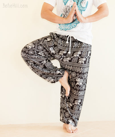 Yoga Pants - Diamond Elephant Genie Harem Yoga Pants Drawstring (Black)