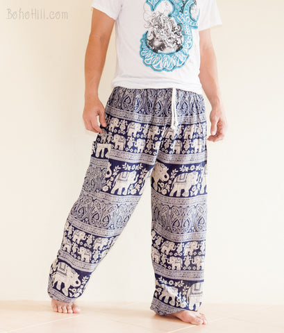 Yoga Pants - Elephant Harem Trousers Yoga Pants Genie Unisex Drawstring (Navy Blue)