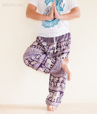 Yoga Pants - Elephant Harem Trousers Yoga Pants Genie Unisex Drawstring (Purple)
