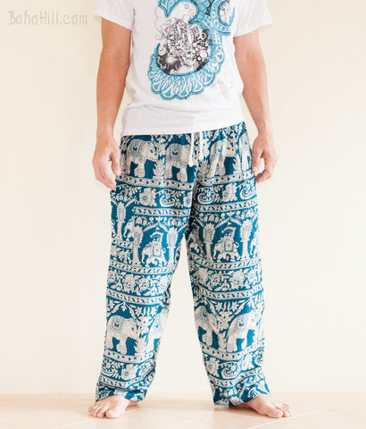 Yoga Pants - Elephant Harem Trousers Yoga Pants Genie Unisex Drawstring (Teal)