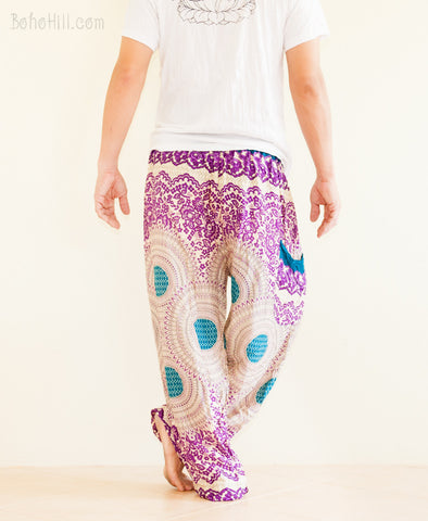 Yoga Pants - Harem Trousers Boho Yoga Pants Aladdin Genie Unisex Drawstring (Purple Geo)