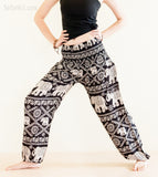 Yoga Pants - Hippie Harem Trousers Bohemian Yoga Pants Smocked Waist Elephants (Black)