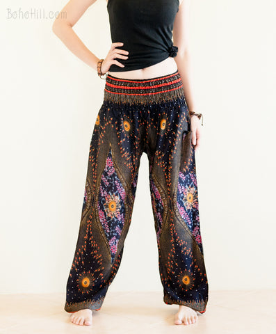 Yoga Pants - Peacock Chakra Yoga Pants Bohemian Harem Trousers Smocked Waist (Black)