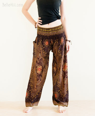 Yoga Pants - Peacock Chakra Yoga Pants Bohemian Harem Trousers Smocked Waist (Brown)