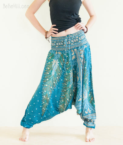 Yoga Pants - Peacock Harem Pants Low Crotch Yoga Trousers (Teal)