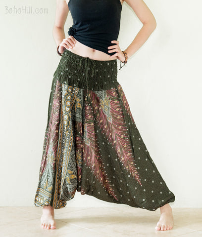 Yoga Pants - Peacock Harem Pants Low Crotch Yoga Trousers (Very Dark Green)