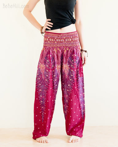 Yoga Pants - Peacock Yoga Pants Bohemian Thai Harem Trousers Smocked Waist (Burgundy)