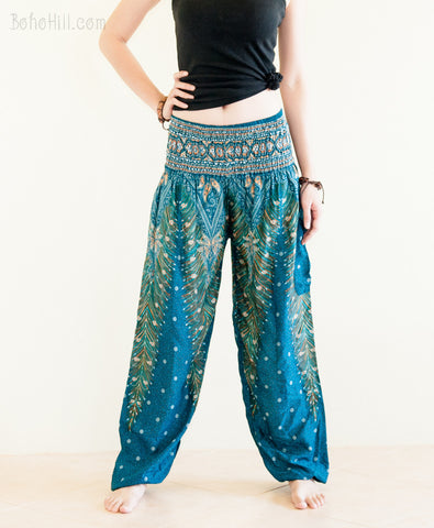 Yoga Pants - Peacock Yoga Pants Bohemian Thai Harem Trousers Smocked Waist (Cool Green)