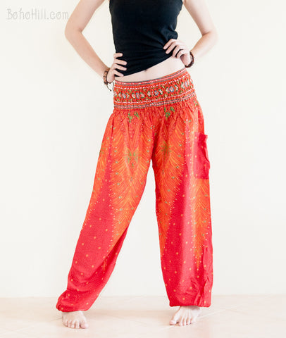 Yoga Pants - Peacock Yoga Pants Bohemian Thai Harem Trousers Smocked Waist (Fire Red)