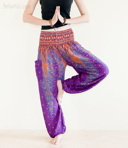 Yoga Pants - Peacock Yoga Pants Bohemian Thai Harem Trousers Smocked Waist (Purple)