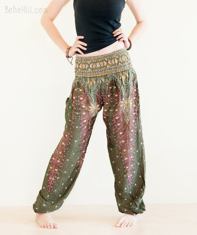 Yoga Pants - Peacock Yoga Pants Bohemian Thai Trousers Smocked Waist (Olive Green)