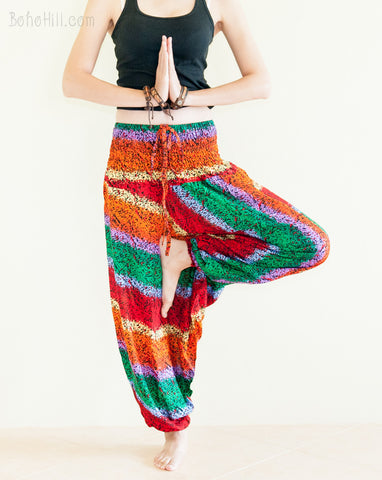 Yoga Pants - Rainbow Bohemian Pants Low Crotch Harem Trousers (No.6)