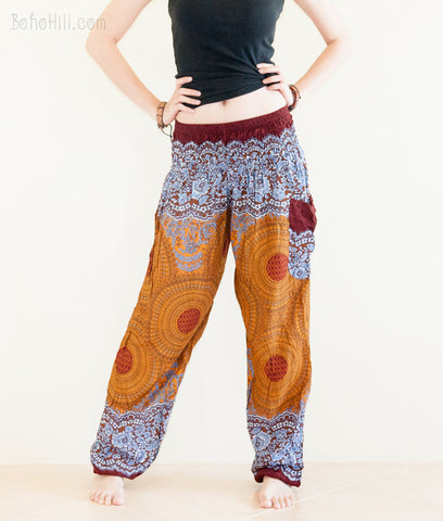 Yoga Pants - Smock Waist Bohemian Yoga Trousers Rayon Boho Thai Pants (Brown Geo)