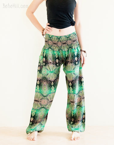 Yoga Pants - Teardrop Peacock Yoga Pants Bohemian Harem Trousers Smocked Waist (Green)