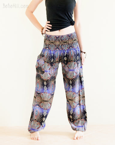 Yoga Pants - Teardrop Peacock Yoga Pants Bohemian Harem Trousers Smocked Waist (Twilight Blue)