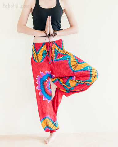 Yoga Pants - Vibrant Tie Dye Print Low Crotch Harem Yoga Pants (Red)