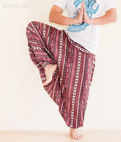 Yoga Pants - Yoga Trousers Aladdin Low Crotch Harem Pants (Burgundy Tribal Stripes)