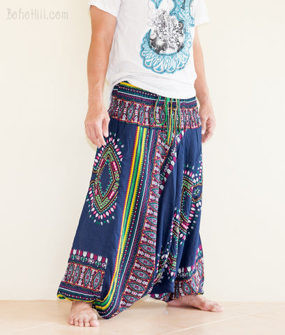 Yoga Pants - Zulu Tribal Harem Pants Unisex Low Crotch Yoga Trousers (Dark Navy)