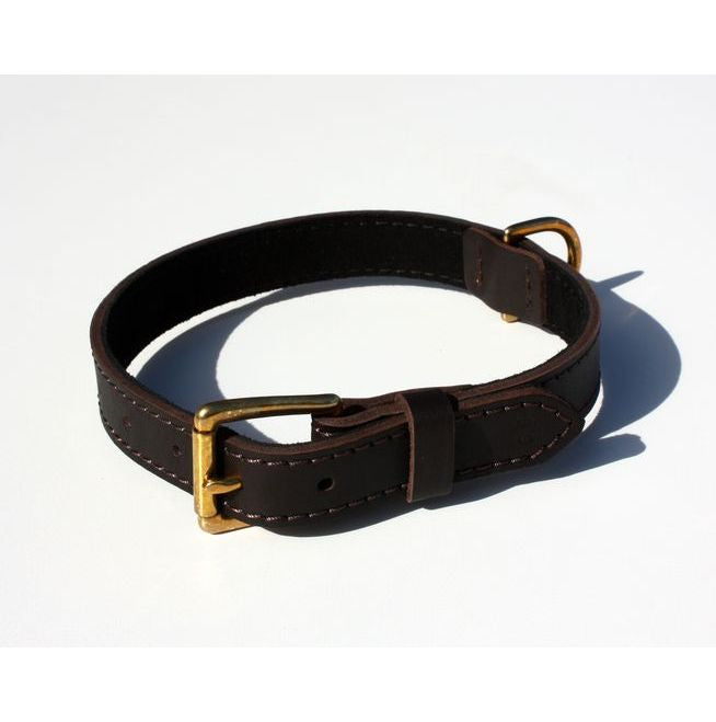 KLIN Leather Collar with lining and brass fittings, for puppies and small breeds