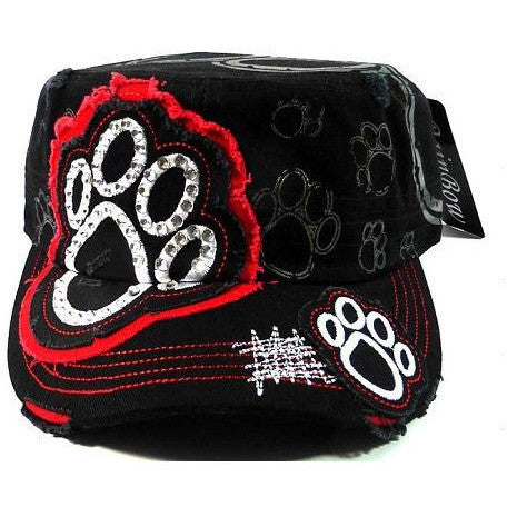 Rhinestone Cadet Hat Paw Print black/red Trim
