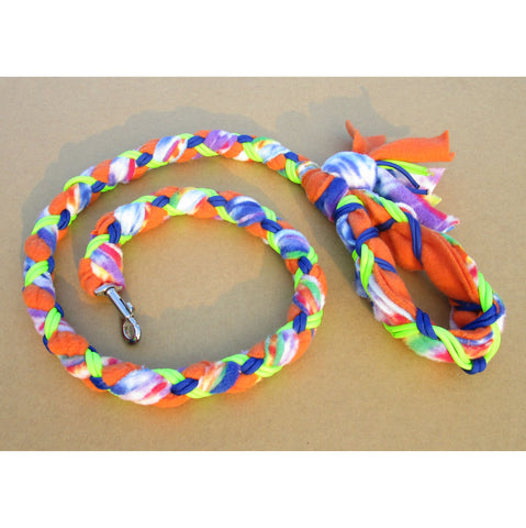 Hand Braided Dog Tug Leash with Clasp, Fleece and Paracord for Walking, Agility or Flyball Blue Tie-Die over Orange with Neon-Green