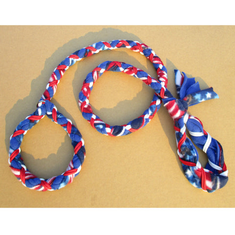 Hand Braided Dog Tug Leash with Slip Collar, Fleece and Paracord for Walking, Agility or Flyball US Flag over Blue with White/Red