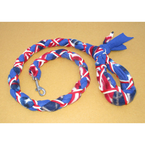 Hand Braided Dog Tug Leash with Clasp, Fleece and Paracord for Walking, Agility or Flyball US Flag over Blue with Red/White