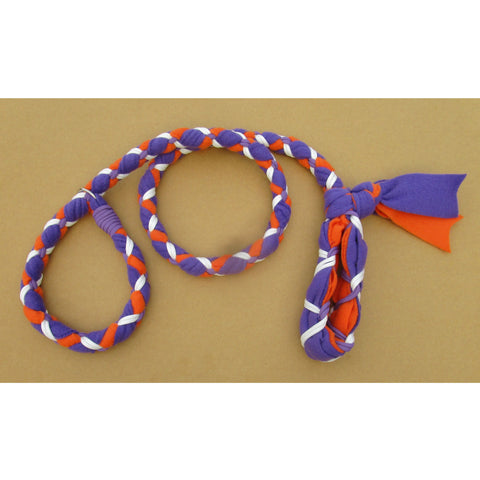 Hand Braided Dog Tug Leash with Slip Collar, Fleece and Paracord for Walking, Agility or Flyball Purple over Orange with White