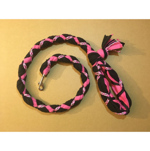 Hand Braided Dog Tug Leash with Clasp, Fleece and Paracord for Walking, Agility or Flyball Black over Pink with Pink Camouflage