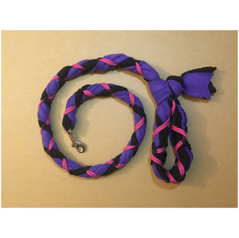 Hand Braided Dog Tug Leash with Clasp, Fleece and Paracord for Walking, Agility or Flyball Purple over Black with Fuchsia