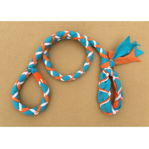 Hand Braided Dog Tug Leash with Slip Collar, Fleece and Paracord for Walking, Agility or Flyball Teal over Orange with White