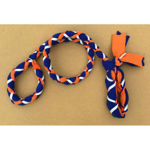 Hand Braided Dog Tug Leash with Slip Collar, Fleece and Paracord for Walking, Agility or Flyball Blue over Orange with White