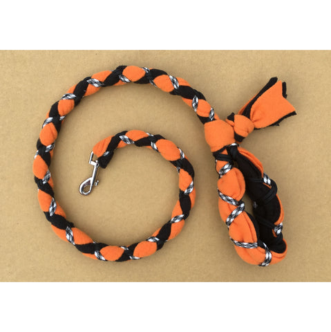 Hand Braided Dog Tug Leash with Clasp, Fleece and Paracord for Walking, Agility or Flyball Orange over Black with Black/White