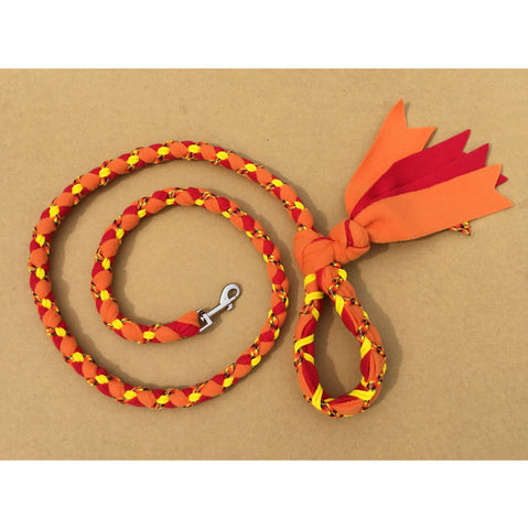 Hand Braided Dog Tug Leash with Clasp, Fleece and Paracord for Walking, Agility or Flyball Orange over Red with Fire and Yellow