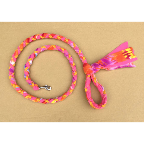 Hand Braided Dog Tug Leash with Clasp, Fleece and Paracord for Walking, Agility or Flyball Pink/Purple Tie-Die over Pink with Gold and Pink