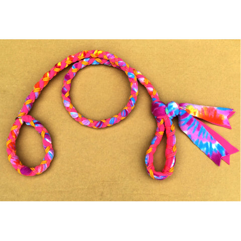Hand Braided Dog Tug Leash with Slip Collar, Fleece and Paracord for Walking, Agility or Flyball Pink/Purple Tie-Die over Pink with Gold and Pink
