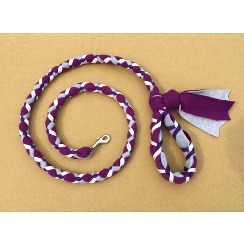 Hand Braided Dog Tug Leash with Clasp, Fleece and Paracord for Walking, Agility or Flyball Plum over Gray with White and Purple