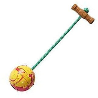 KLIN Solid Rubber Ball on a Rope with Wooden Handle