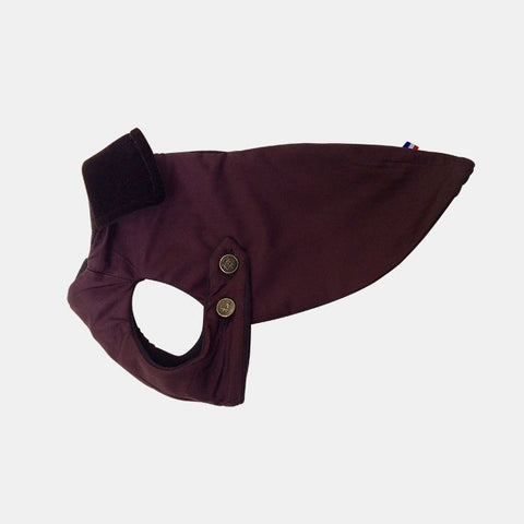 Luxury Dog Coat Burgundy Waterproof Silk from Paris, France